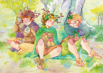 Hobbits in Lothlorien by merrinou