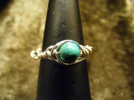 herringbone turquoise ring by BacktoEarthCreations