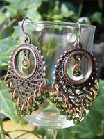 fringe earrings copper and green by BacktoEarthCreations