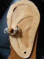 Simple Bead Ear Cuff Tigers Eye In Silver by BacktoEarthCreations