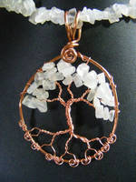 Quartz Chip Leaves With Copper Bark In Copper  by BacktoEarthCreations