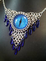 Acid Blue Eye In Chainmaille With Blue Daggers by BacktoEarthCreations
