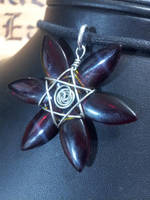 Red Petal Flower with Siz Point star by BacktoEarthCreations
