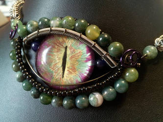 Unique Eye with moss agate necklace by BacktoEarthCreations