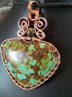 Indian turquoise in flat copper by BacktoEarthCreations