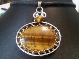 Tigers eye in flat silver by BacktoEarthCreations