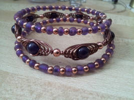 Purple and copper herringbone layer bracelet by BacktoEarthCreations
