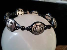 Herringbone And Bead Bangle Bracelet by BacktoEarthCreations
