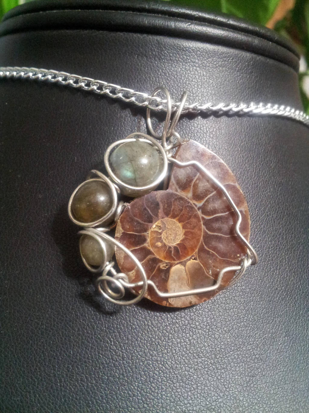 Ammonite And Labradorite In Silver by BacktoEarthCreations