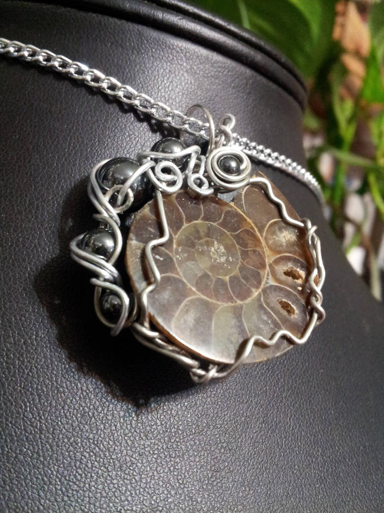Ammonite And Hematite In Silver by BacktoEarthCreations
