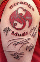 Strange Music Tattoo with Autographs by 2barquack