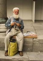 old man by mashine