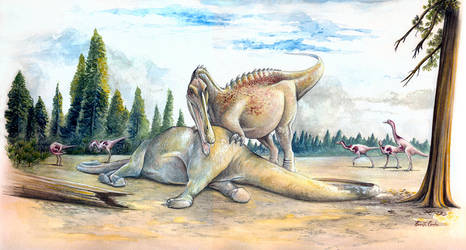 Spinosaurid feeds on a sauropod by rfcunha