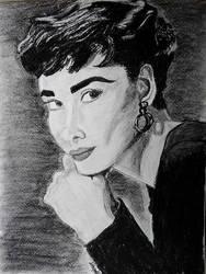 Audrey Hepburn w charcoal by AnnaBubblegum