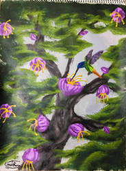Acrylic Humming Bird Scene by WaywardMartian
