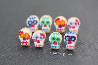 Day of The Dead Rainbow Skulls Earrings by PetitPlat