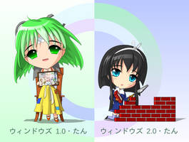 Chibi Windows 1.0 and 2.0-tan by C-quel