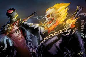 Ghostrider vs scarlet spider by glencanlas